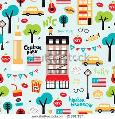 Seamless new york city travel icons and American landmark brooklyn and central park illustration background pattern in vector