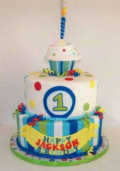 Boy 1st birthday Cupcake theme; love that the topper is also a smash cake!