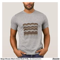 Beige Mosaic Men's Crew Neck T-Shirt