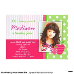 213 best girls birthday party invitations images on pinterest strawberry pink green birthday party invitations filmwisefo