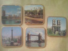 Vintage set of 5 coasters souvenir of London by FoundButNeverLost, €7.00