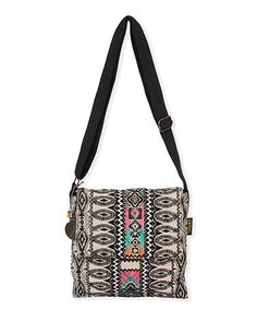 This Black & White Geometric Crossbody Bag is perfect! #zulilyfinds