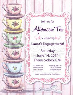 Tea Party Invitation Template royalty-free stock vector art