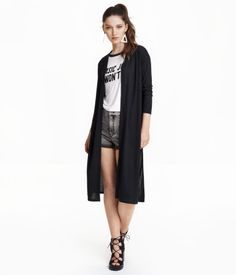 Gray. Long cardigan in rib-knit jersey with long sleeves, high slits at sides, and no buttons.