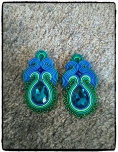 Soutache earrings with blue