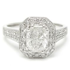 radiant cut diamond with halo rings - Google Search