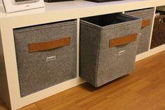 Regalkorb aus Filz mit Ledegriff Farbe Cognac auch passend für Ikea Expedit und Kallax, Box Korb Leder Griff Aufbewahrung