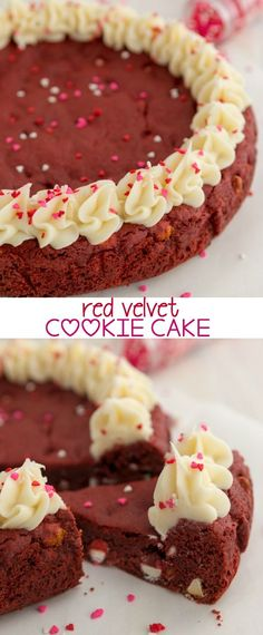 Velvet Cookie Cake Red Velvet Cookie Cake - the perfect Valentine dessert, made easy with cake mix!Red Velvet Cookie Cake - the perfect Valentine dessert, made easy with cake mix! Valentine Desserts, Mini Desserts, Just Desserts, Delicious Desserts, Yummy Food, Valentines, Plated Desserts, Cupcakes, Cake Mix Cookies