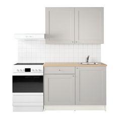 IKEA - KNOXHULT, Kjøkken, Komplett kjøkken som inkluderer benkeplate, hyller, skuffer, oppvaskkum, blandebatteri og vannlås.Står stødig på ujevne gulv fordi føttene er justerbare.Stammene og frontene er belagt med melamin, det gir en ripebestandig overflate som er enkel å holde ren.Du kan enkelt montere dørfronten i riktig posisjon, fordi hengslene kan justeres i høyde, sideretning og dybde.Døren er tilpasset både for høyre- og venstremontering.Lettgående skuff med uttrekkstopper.