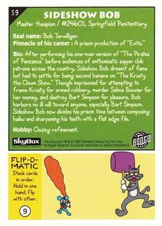 1993 SkyBox The Simpsons #S9 Sideshow Bob | Trading Card Database Collector Cards, Trading Card Database, Sideshow, Trivia, Prison, Bob, Let It Be, Posters, The Simpsons