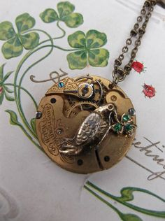 Victorian Statement Pocketwatch Mechanism & Dragonfly Necklace - Forage and Find