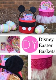 DIY Disney Easter Baskets |  #sponsored #DisneyEaster  |  Includes a tutorial for a No Sew Mickey Mouse Easter bucket and a No Sew Disney Princess Easter Bucket