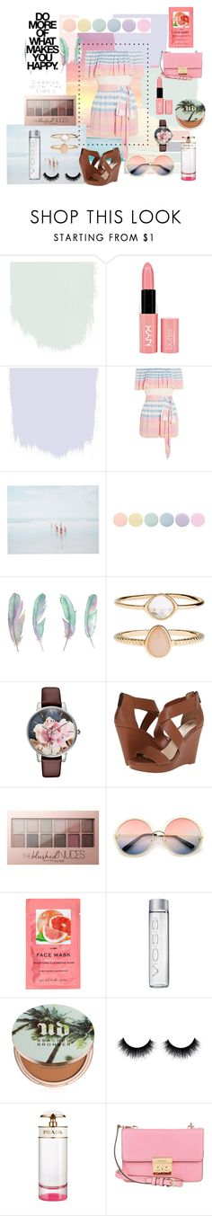 """Soft Sunset Stripe"" by kevans-iv ❤ liked on Polyvore featuring Isharya, NYX, Mara Hoffman, She Hit Pause Studios, Deborah Lippmann, Accessorize, Ted Baker, Jessica Simpson, Maybelline and ZeroUV"