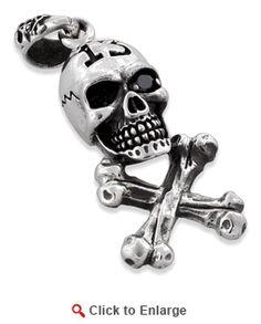 Sterling Silver Cross Bones Number 13 Skull Pendant