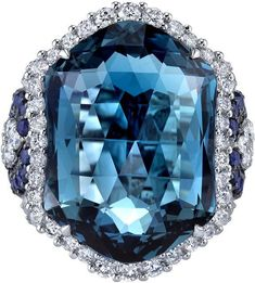 Ice 21.70 carats London Blue Topaz Diamond and Sapphire Ring 14K White Gold