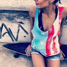 American Flag Rockstar Tank  From UrbanEclectics on Etsy