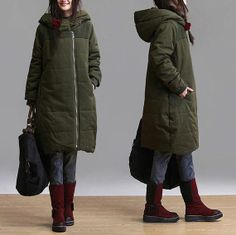Army Green Slim Long winter padded jacket / leisure by dreamyil, $178.00