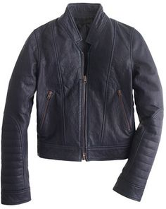 $495, Navy Leather Bomber Jacket: J.Crew Collection Standing Collar Leather Jacket. Sold by J.Crew. Click for more info: http://lookastic.com/women/shop_items/165199/redirect