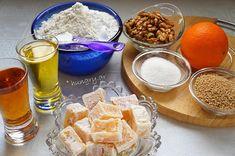 Νηστίσιμα Σκαλτσούνια με Λουκούμι Walnut Cookies, Turkish Delight, Dairy, Cheese, Cake, Food, Food Cakes, Eten, Cakes