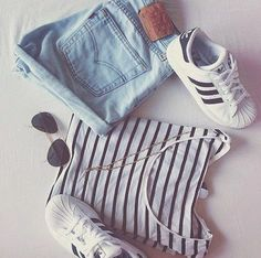 stripes + levi's + adidas superstars