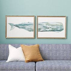 In this watercolor diptych, the whale and water appear as one.