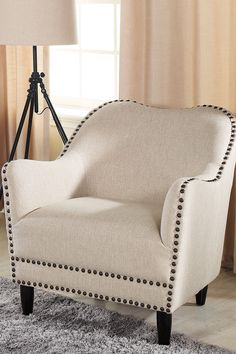 Seibert Beige Linen Modern Accent Chair on @HauteLook
