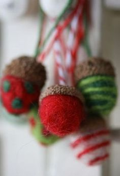 Needle felted acorn ... step by step easy peasy directions