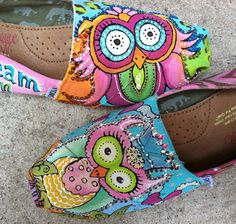 Custom Hand Painted TOMS Owls zebra cheetah hearts bling shoes women CoLoRfUL! | eBay