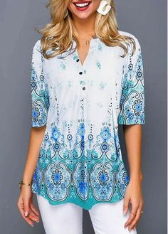Tribal Print Split Neck Button Front Blouse Women Clothes For Cheap, Collections, Styles Perfectly Fit You, Never Miss It! Trendy Tops For Women, Stylish Tops, Blouses For Women, Casual Tops, Tops Bonitos, Vestido Casual, Dress Casual, Tribal Prints, Short Sleeve Blouse