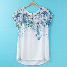 Trendy Style Scoop Collar Bird and Floral Print Zipper Women's T-ShirtVintage T-shirts | RoseGal.com