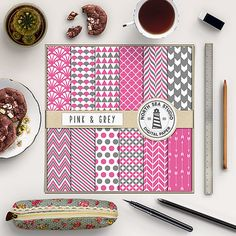 Pink And Grey Digital Paper -  http://etsy.me/2aPJMXF Grey and pink papers with chevron, polkadots, stripes, scallops, arrows & shell pattern.