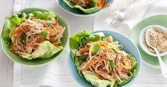 Use leftover chicken to create tasty lettuce cups. Simple and quick. (I'm not sure I would use all the same ingredients however; I really like the sound of the dressing) Chicken Lettuce Cups, Cooking Recipes, Healthy Recipes, Meat Recipes, Delicious Recipes, Healthy Foods, Yummy Food, Clean Eating, Healthy Eating