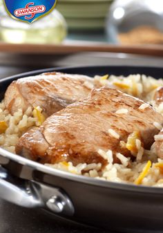 Looking for something speedy but still pleasing to your taste buds? This Quick Glazed Pork & Rice Skillet is the answer to your dilemma. It features boneless pork chops and rice simmered to perfection in a sweet and sour sauce. Skillet Recipes, Skillet Meals, Entree Recipes, Dinner Recipes, Pork Chops And Rice, Glazed Pork, Chicken Steak, Boneless Pork Chops, Pork Dishes