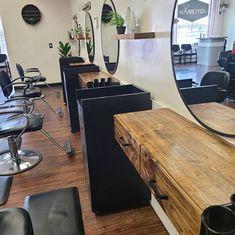 Salon Interior Design, Hair Salon Interior, Home Salon, Rustic Salon, Flosting Shelves, Salon Waiting Area, Floating Shelf With Drawer, Barber Shop Decor, Living Room Tv Unit Designs