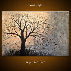 Amy Giacomelli Original Large Abstract Painting Modern Trees and French text ... 24 x 36 .. Prairie Flight