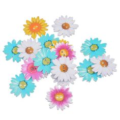 Souarts Mixed Chrysanthemum Shaped 2 Holes Wood Wooden Buttons Pack of 20pcs *** Want additional info? Click on the image.