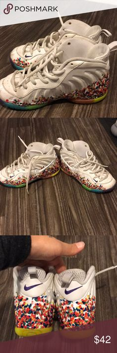 Youth foamposites (skittles) - 1.5 Worn with a ton of life left. Come as shown with no box. No trades. No offers price is firm. Soles are not worn down. These are kids size 1.5 and my 7-8 year old was the previous owner 😉 Nike Shoes Athletic Shoes
