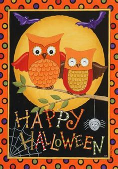 Polka Dot Happy Halloween Owl Spider Harvest Moon   Flag we got for Halloween!  :)