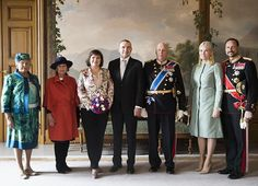 King Harald V, Queen Sonja, Crown Prince Haakon, Crown Princess Mette-Marit and Princess Astrid welcome their guests the President of Iceland Gudni Johannesson and his wife Iceland's First Lady Eliza Reid on March 21, 2017 at the Royal Palace in Oslo.