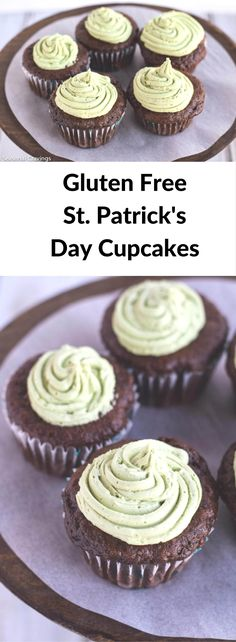 Gluten Free St. Patrick's Day Cupcakes - easy, one bowl chocolate cupcakes with buttercream frosting!  Moist and full of chocolate flavor!