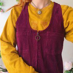 eab521f4 Sweetest plum purple mini vintage pinafore dress💜💛 in a so - Depop Pretty  Shirts