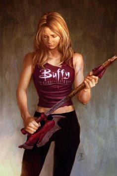 Buffy the Vampire Slayer, as played by Sarah Michelle Gellar in the television series of the same name, was the toughest petite blonde monster killer in the room. Buffy Summers, Guitar Girl, Sarah Michelle Gellar, Joss Whedon, Seinfeld, Comic Book Characters, Comic Books, Science Fiction, Pulp Fiction