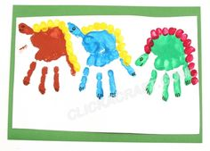 Handprint Dinosaurs Craft Project – Cool Ideas How to Paint Handprint Dinosaurs Dinosaur Activities, Dinosaur Crafts, Craft Activities For Kids, Projects For Kids, Craft Projects, Crafts For Kids, Arts And Crafts, Preschool Dinosaur, Dinosaur Projects