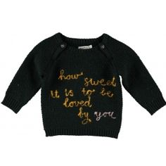 Imps&Elfs black candy sweater 'how sweet it is to be loved by you'
