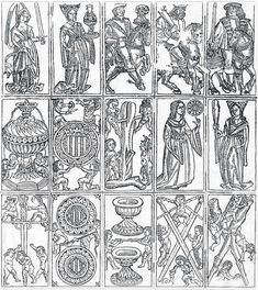 : uncut sheet showing fifteen playing cards, 15th century. Discovered in the book cover of a Catalan manuscript volume of 1519. Museu Nacional d'Art de Catalunya (Barcelona).