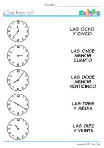 25-page worksheet packet on telling time in Spanish plus