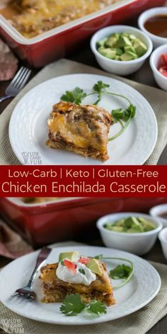 A delicious low carb chicken enchilada casserole made with an easy homemade sauce. It's a delicious keto casserole that the whole family will love. #lowcarb #keto #ketorecipe via @lowcarbyum