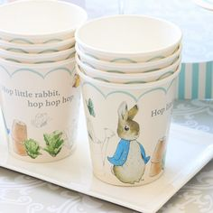 Featuring an original illustration by Beatrix Potter, these Peter Rabbit party cups make a great finishing touch to any garden themed baby shower.