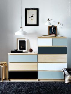 Mix up the colours on a MALM drawer chest for added flair