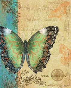 Royal Tapestry Butterfly-B Digital Art by Jean Plout - Royal Tapestry Butterfly-B Fine Art Prints and Posters for Sale Decoupage Vintage, Decoupage Paper, Vintage Butterfly, Butterfly Art, Green Butterfly, Butterfly Wallpaper, Vintage Cards, Vintage Paper, Vintage Pictures